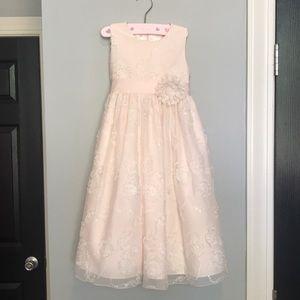 Peach flower girl/formal dress with flower detail